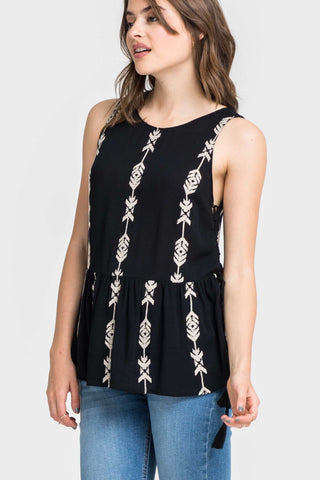 Liya Embroidered Tassel Top