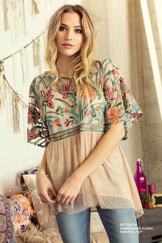 Floral Embroidered Babydoll Top
