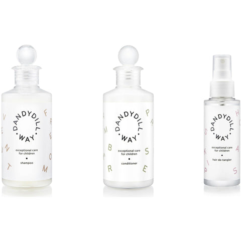 Exceptional Care Hair Set Dandydill Way shampoo, conditioner and hair de-tangler bottles