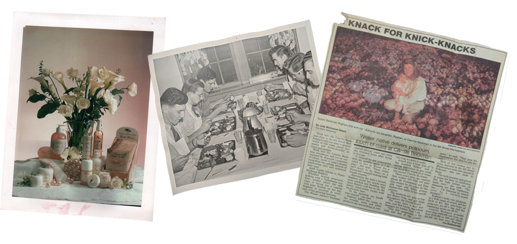 Old photos of a the family, a newspaper article and an original Camille advertisement.