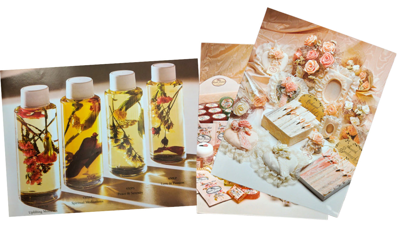 Vials of fragrances and old photos of Camille products