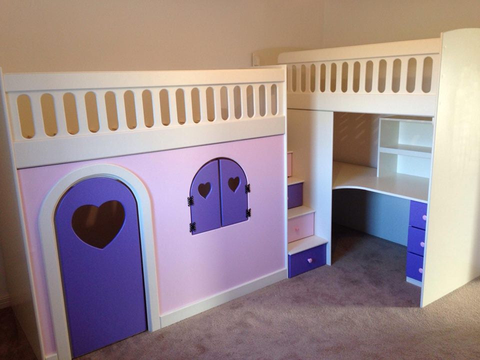 double bunk beds with play den and desk