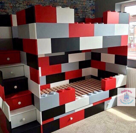 Block themed bunk beds with trundle below