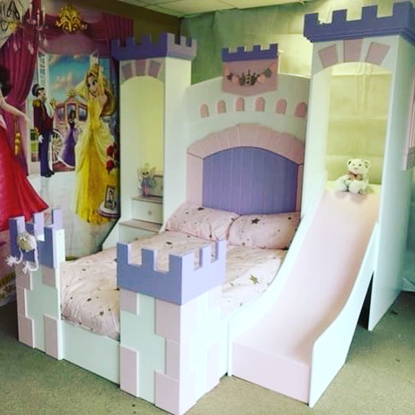 princess castle bed with slide. Black Bedroom Furniture Sets. Home Design Ideas