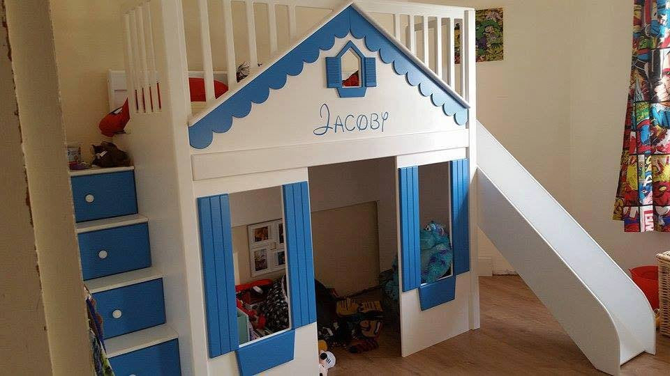 cabin bed with play den and slide