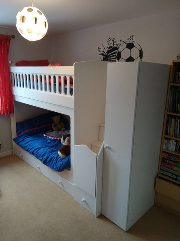 Bunk beds underneath comes with built in wardrobe