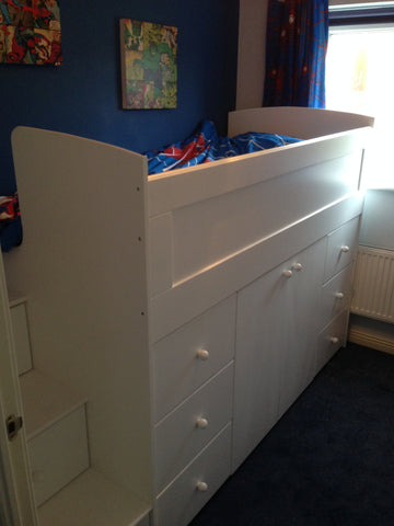 Cabin bed with storage and drawer stairs
