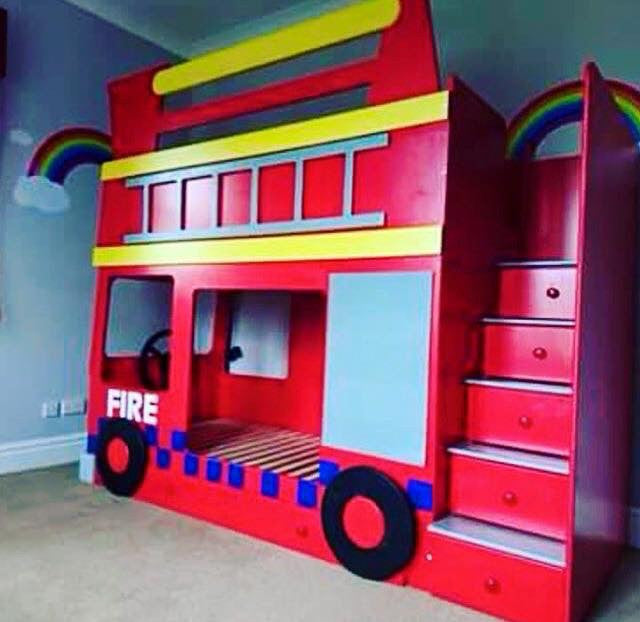 Fire  Engine bunk beds with drawer stairs