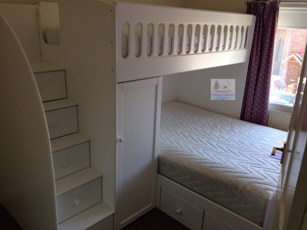 Bed With 4ft Double And Single Up Top With Wardrobe And