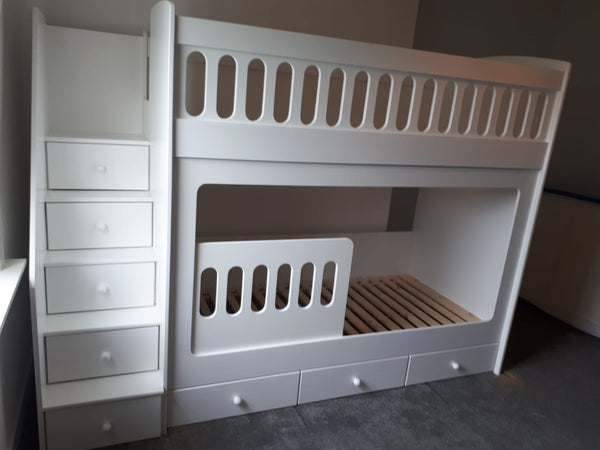 Bunk beds with drawer stairs and drawers underneath