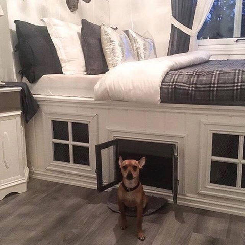 Bed with pet house underneath