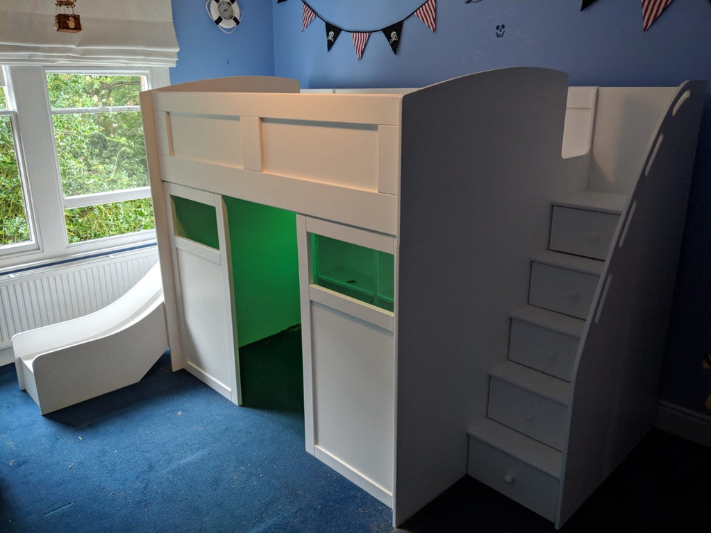 Mid sleeper bed with study/play area underneath
