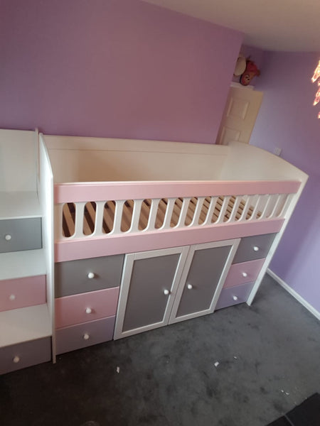 Cabin bed with drawer stairs