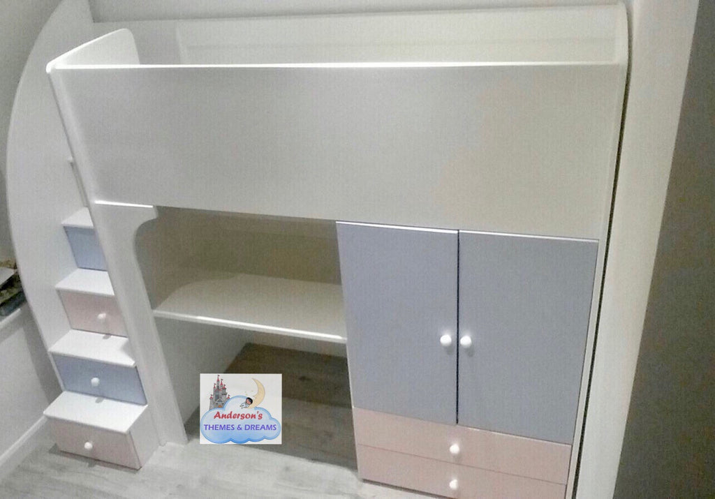 & Cabin bed with wardrobe storage and built in desk
