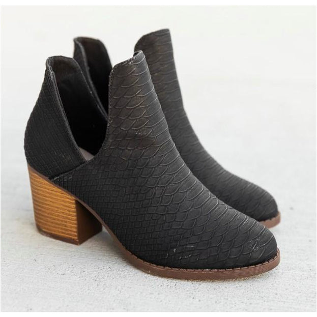 Textured Black Booties