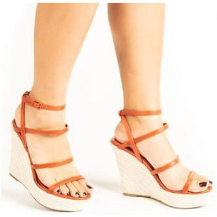 Alexis, Strappy Stacked Wedge