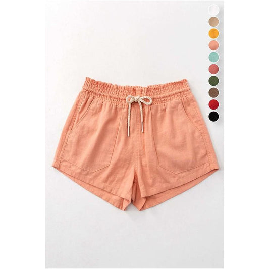 Rope Drawstring Linen Short