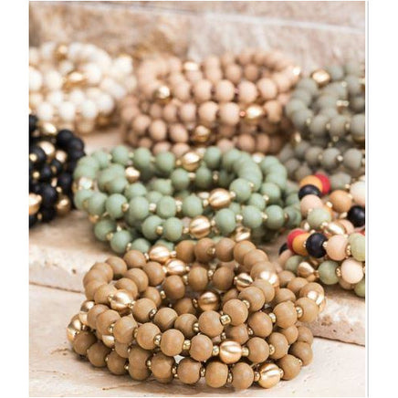 Lou, Wood and Metal Bead Bracelet Set