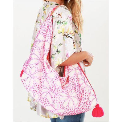 Lacey, Intricate Floral Hand Top Stitched Hobo Bag