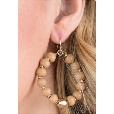 Joni, Wooden Beaded Earrings with Metal Accents