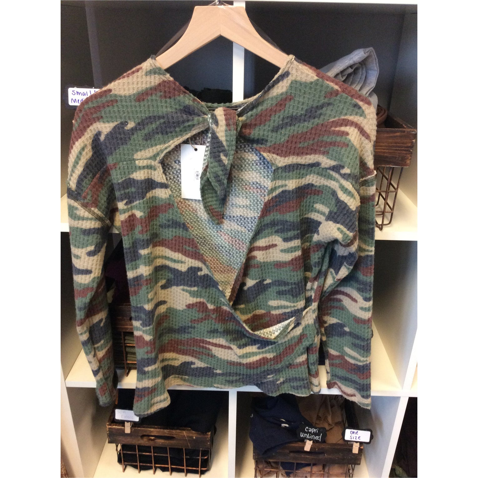 Camo Printed Knit Top