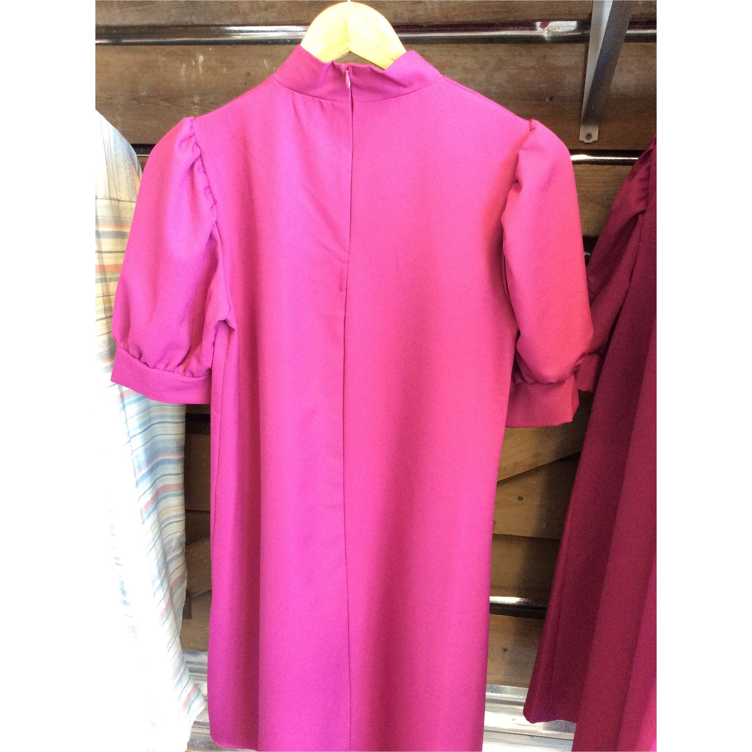 Magenta Puff Sleeve Dress