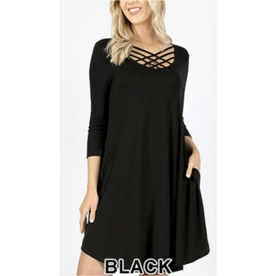 Terri, lattice swing dress with pockets