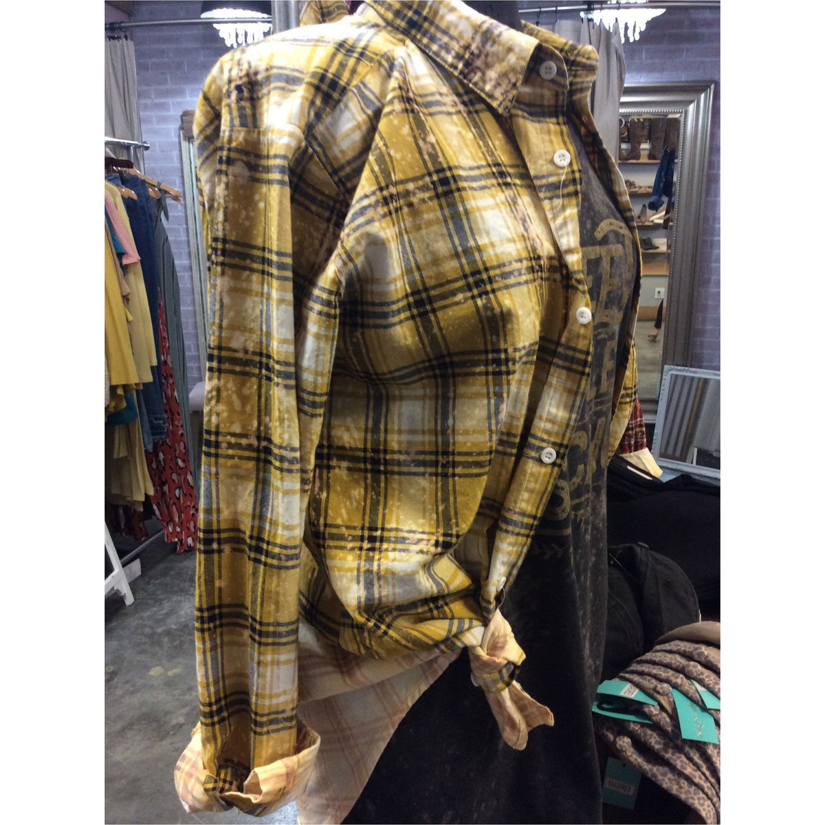 Mustard Bleached Plaid