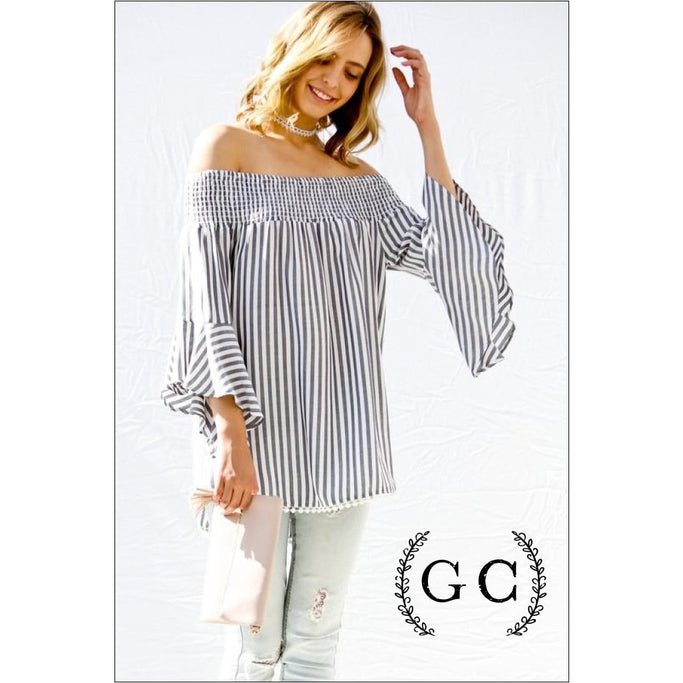 Smocked Striped Top Blouses