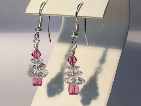 Christmas Tree Earrings - Clear & Pink
