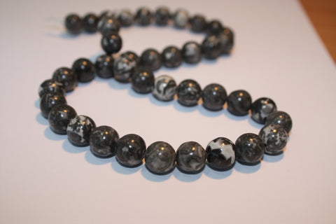 Black Fossil Jasper 10mm Rounds