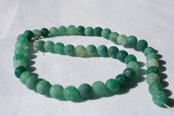 Green Frosted Crackled Agate Rounds