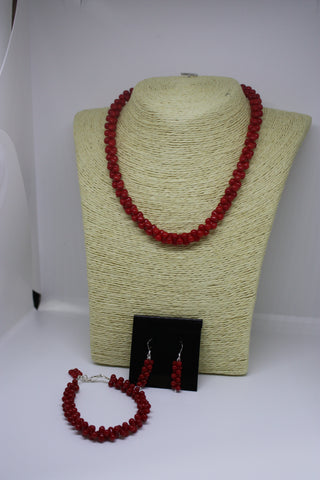 Red Coral and Sterling Silver Necklace, Bracelet and Earrings set