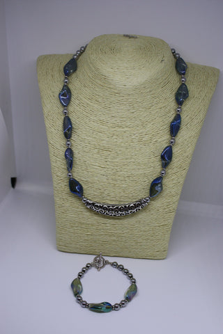 Irridescent Glass and Silver Plated Necklace and Bracelet Set
