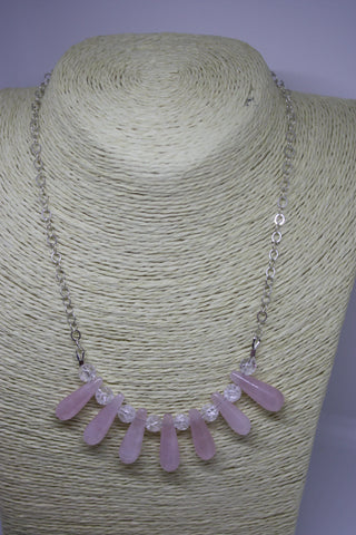 Sterling Silver, Rose Quartz and Quenched Crackled Quartz Necklace, Bracelet and Earrings Set