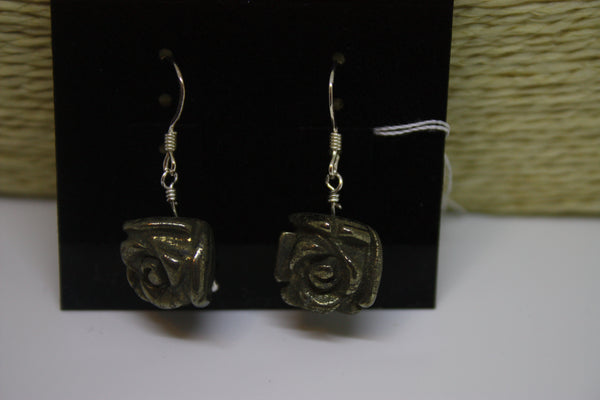 Sterling Silver and Pyrite Roses Earrings (also known as Fools Gold)