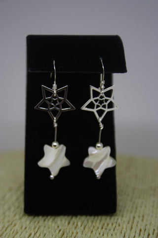 Sterling Silver Star drop earrings - made with Shell