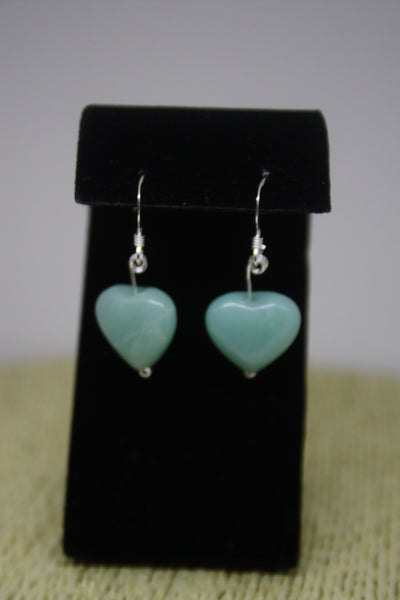 Sterling Silver and Amazonite Heart Earrings - gorgeous sky blue!