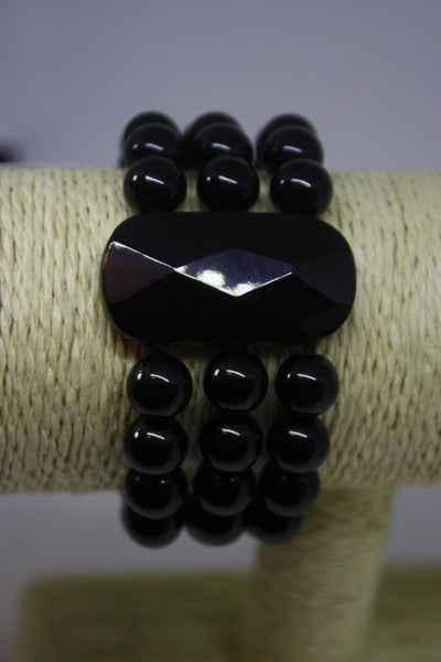 Black Onyx Stretchy Three Strand Bracelet