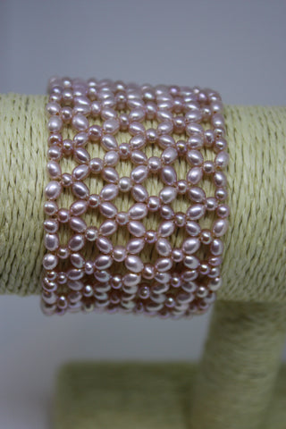 Pink Freshwater Pearl Stretchy Cuff Bracelet- Beautiful