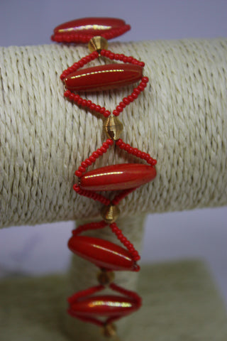 Red Glass and Gold Plated Bracelet