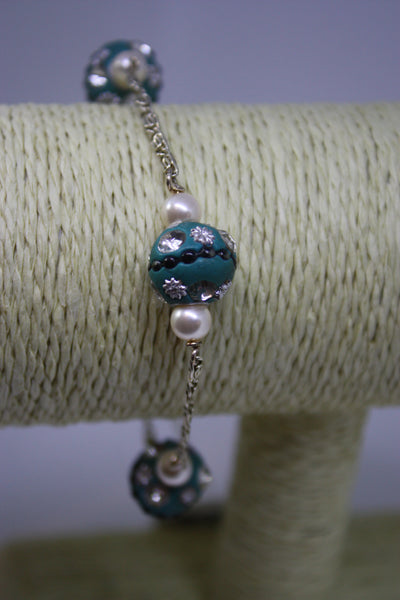 Blue Sparkly Bracelet with Chain (Silver plated)