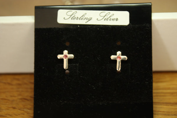 Sterling Silver Cross Stud Earrings with pink cubic zirconia