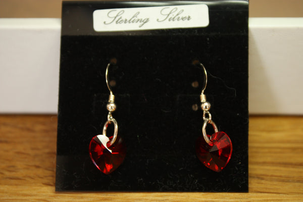 Sterling Silver and Red Swarovski Heart Earrings