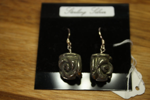 Sterling Silver Earrings with Pyrite (Fools Gold) Roses