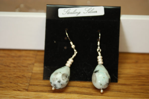 Sterling Silver and Ceramic Earrings (Brown/green/white)