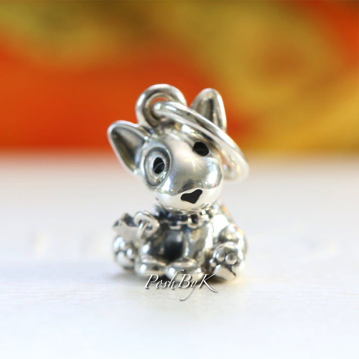 Pandora Bull Terrier Puppy Dog Dangle Charm 798010EN16 - Posh By K