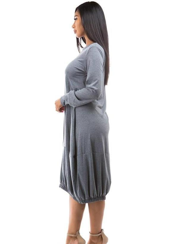 Tandie Long Sleeve Bell Midi Dress (Gray), casual dress,maternity dress,pregnant dress,ootd,fashion Clothing,womens clothes,fashion blog,fashion trends,Streetwear ,Stand Out ,Sexy Trend, Online Shopping