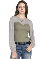 Zoe Long Sleeve Color Block Top (Grey/Olive) - Posh By K , ootd,fashion Clothing,womens clothes,fashion blog,fashion trends,Streetwear ,Stand Out ,Sexy Trend, Online Shopping,casual wear,office attire, elegant tops,formal wear,sexy tops,party tops,daily fashion,IG show off, Decent tops