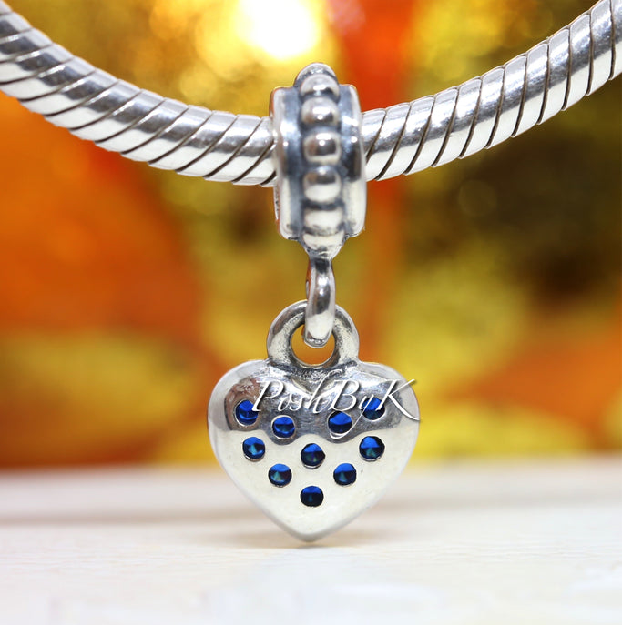 Pandora Blue CZ Pavé Heart Dangle Charm * Retired* - Posh By K